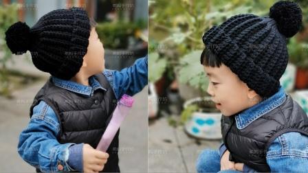 韩版粗毛线球帽子宝宝帽钩针视频新手编织教程花样大全图