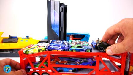 红色双层卡车搬运小汽车玩游戏,大箱车卡车汽车跑道,儿童玩具游戏,亲子互动悠悠玩具城