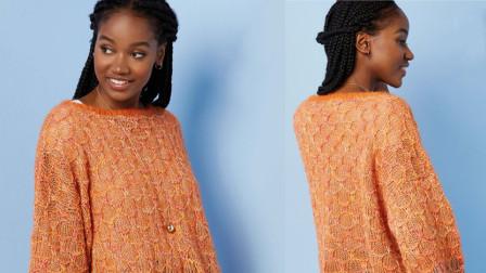 一款七分袖针织衫花样编织的视频教程,清新靓丽,休闲大方毛线编织图案