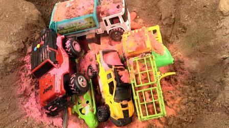 亮亮玩具汽车种彩虹沙收获鲤鱼和垃圾车,婴幼儿宝宝玩具过家家游戏视频G408