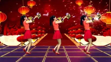 简单易学广场舞视频《猪年大吉》祝您财源滚滚,最火抖音舞蹈