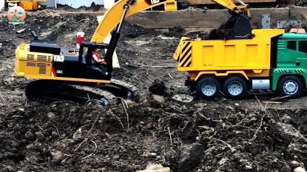 儿童仿真挖掘机装载车玩具,建筑车辆玩具,RC轮式装载机玩具