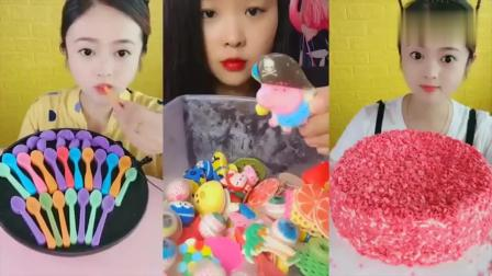 美女直播吃彩色小勺子巧克力、爆浆蛋糕,是我童年向往的生活