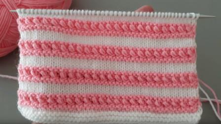 编织花样系列,嵌花式双色条纹花样教程,看到它相信你会爱上它