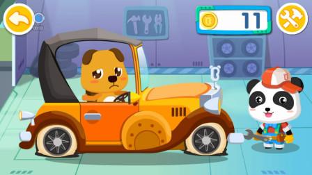 小熊驾驶复古老爷车到修车店换轮胎