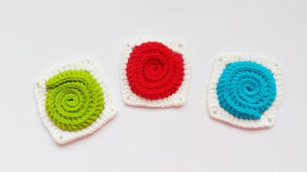 钩针编织螺旋蜗牛样式的花样拼接的毯子超级萌的编织法视频