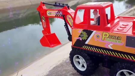 32工程车益智动画 挖掘机起重机和翻斗车搬运木箱挖掘机工程车挖土工作视频