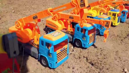 33工程车益智动画 挖土机翻斗车和钩机建水泥搅拌车挖掘机工程车挖土工作视频