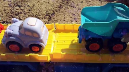 40工程车拖车救援水泥搅拌车,挖机大卡车运输沙子挖掘机工程车挖土工作视频