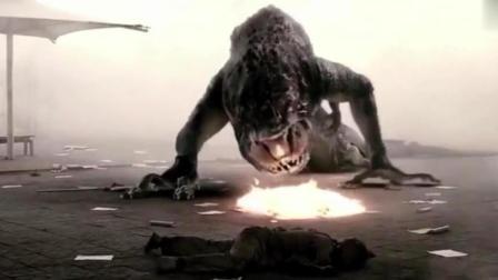 巨大的怪物从江边出现, 最后喝下汽油被引爆而死