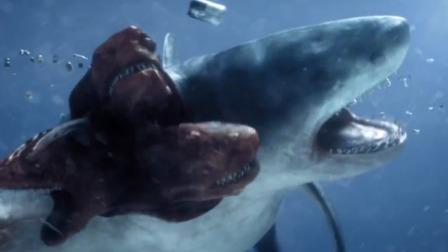科幻:五头鲨鱼极度贪婪,连垃圾都吃,结果悲剧了