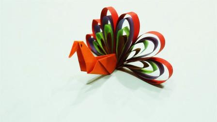 儿童手工制作大全 孔雀开屏折纸制作教程