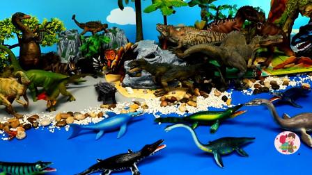野生动物玩具聚集海洋里动物玩具,恐龙母子龙三角龙霸王龙偷蛋龙恶龙,假山绿树,儿童玩具亲子互动