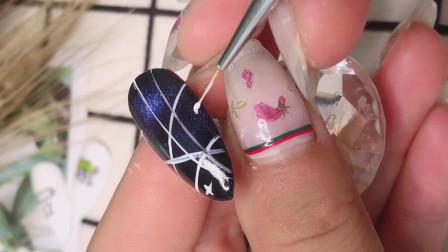 日式美甲最流行款式制作分享,星空款制作创意美甲款式分享。