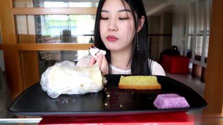 芦荟圆滚滚吃播宁波特色糕团哦,酒酿米馒头,雪菜糯米团好好吃
