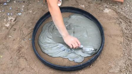 简单的材料制作精美花盆,自行车轮胎灌入水泥,这操作你能看懂吗