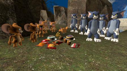 GMOD游戏汤姆猫杰瑞鼠偷食物躲在石头后面,被发现了吗?