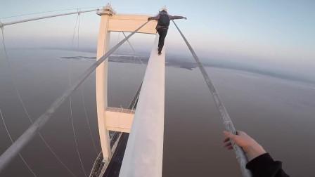 英国顶级跑酷团队在著名大桥上 被警察逮住,最终逃出被逮捕!