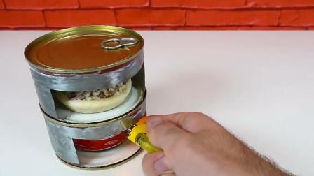 易拉罐的妙用,制作微型小烤箱,烤出的披萨美味至极
