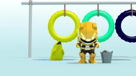 迷你特工队益智动画:麦克斯骑海豚跳圈圈学英文学颜色之黄蓝黑