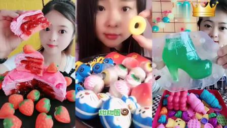 小姐姐直播吃彩色水果千层、自制绿色果冻