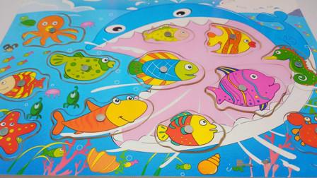 把积木小鱼放进大海
