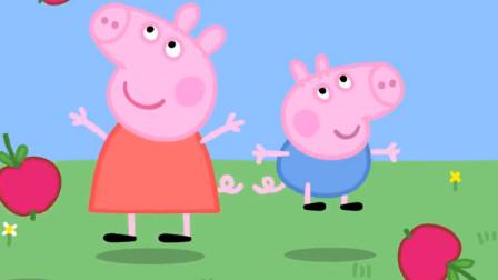 小猪佩奇与弟弟乔治一起捡苹果儿童卡通简笔画