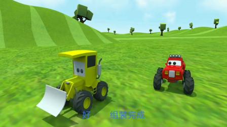 小卡车踢足球遇到麻烦事,好朋友推土机来帮忙!