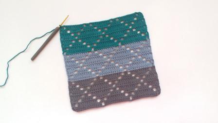 钩针编织简单大方的镂空菱形花样可以做围巾毛衣毯子等最简单编织方法
