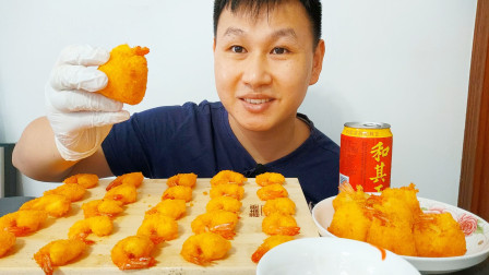 小熊哥吃播:黄金虾球+黄金香酥虾,吃得真香,番茄酱都不够吃了