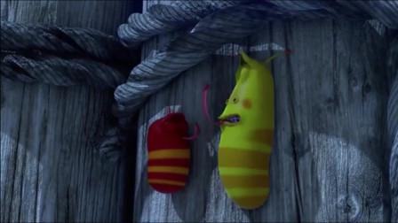 爆笑虫子:小黄虫跳下飞船,回到小岛击鼓熄灭火山喷发