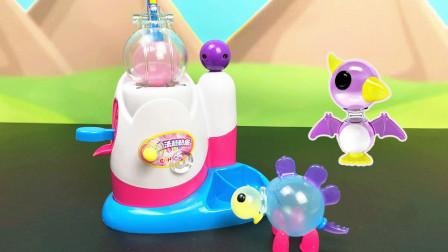 魔法粘粘乐小球变大制作恐龙玩具