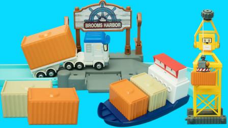 玩具大联萌 变形警车珀利轨道玩具 特里卡车在货运码头搬运集装箱
