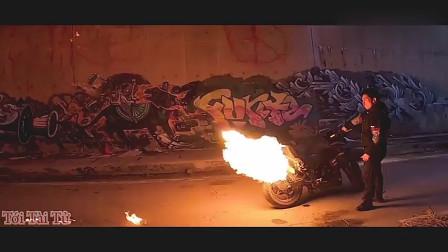 教你怎样用摩托车喷火