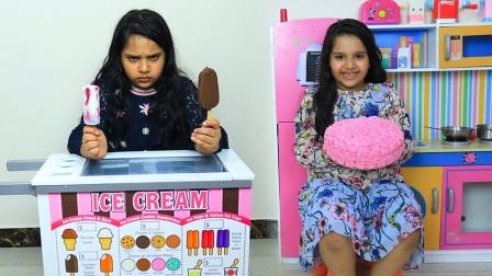 小萝莉收到一个全是玫瑰花的蛋糕!旁边拿冰激凌的小萝莉咋不开心