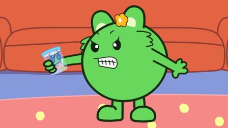 咕力咕力-倔强的瓶子 绿咕力打不开瓶子了快来帮帮他