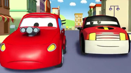汽车总动员:警车变装成很酷的超能先生追捕做坏事的小汽车