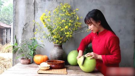 微凉寒意的秋天,李子柒小姐姐亲手做蜂蜜柚子茶,来碗暖心又养脾
