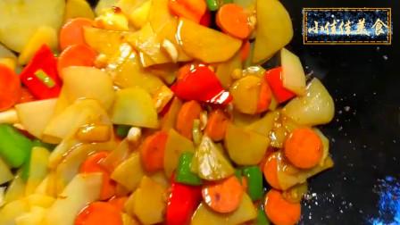 美食制作,家常菜土豆片炒香肠做法,最简单做法