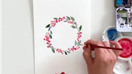 清新好看的水彩画,会画画的人,用棉签也能画出好看的花花草草