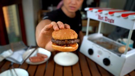 拆箱测评一款多功能热狗机,不仅可以烤烤肠还能做汉堡,真幸福!