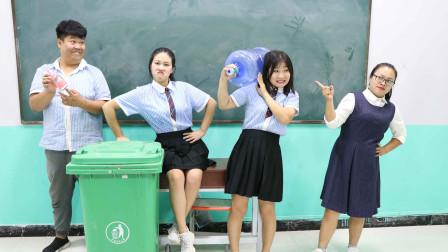"""学校安装果汁机,没想学生拿的喝水工具一个比一个""""大"""",太逗了"""
