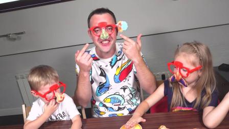 好搞笑!萌宝小正太一家人做的面具分别是什么样的?趣味玩具故事