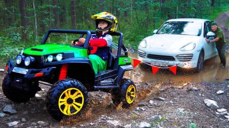 好厉害!萌宝小正太能帮爸爸的车从坭坑里拉上来吗?趣味玩具故事