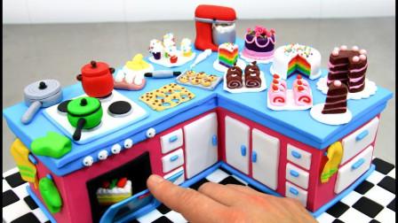 逼真的迷你小厨房,竟是牛人用翻糖做的,华丽又精致