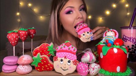 外國芭比美女吃草莓甜點套餐,香甜滋味溢滿口腔
