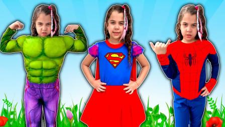 超厉害!萌宝小萝莉化身为蜘蛛侠跟绿巨人,她到底都做了哪些事呢?儿童亲子游戏玩具故事