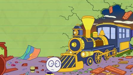 铅笔人爆笑烧热水,艰难喝到一杯咖啡,结果又被火车撞烂了房子?