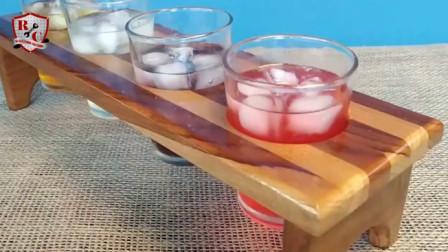 一块木板制作成简易版酒架,无论躺在喝酒、趴着喝都不怕酒洒!