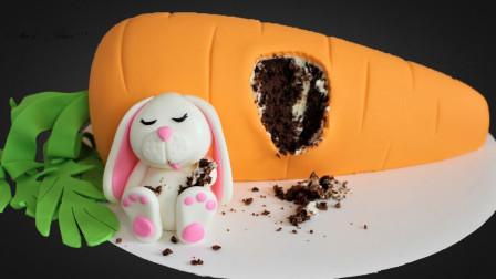 见过这么可爱的翻糖蛋糕吗?兔子吃饱了,直接躺在胡萝卜上睡觉